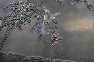 """Shoami Katsuyoshi, 1892: Metalli-istutuksin toteutettu """"maalaus"""""""